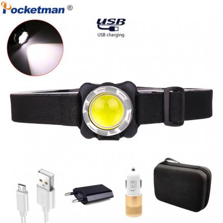 Brightest Headlamp USB Headlight COB LED Head Lamp Rechargeable Head Light Waterproof with Built-in Battery White Red Lighting