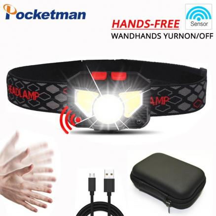 Pocketman 3200lm Sensor LED Headlamp Motion Sensor Powerfull Hard Hat LED headlight Built-in battery inductive with Portable box