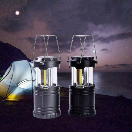 Mini Portable Hand Lamp Collapsible Camping Lantern COB LED Tent Lights Waterproof Outdoor Camping Hiking Light Powered By 3*AA