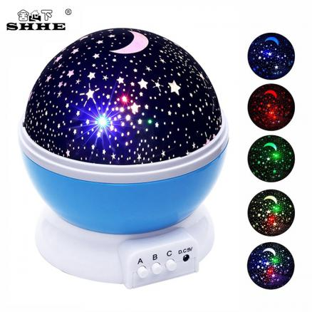 Rotating Cosmos Starry Sky LED Night Light Luminaria Moon Star Master Table Night Lamp Battery Rechargeable Projector lights