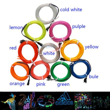 1m/2m/3m/5M Flexible Neon Light Glow EL Wire Rope tape Cable Strip LED Neon Lights Shoes Clothing Car decorative ribbon lamp 3V