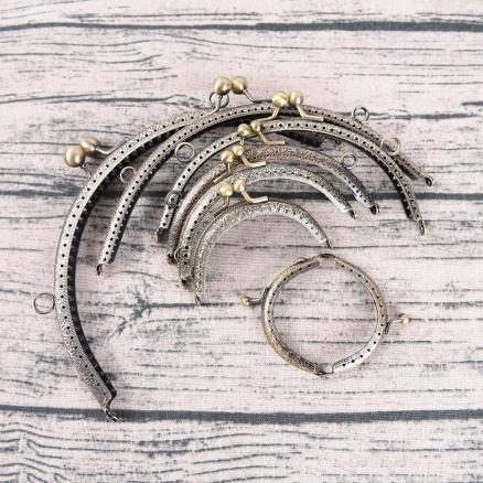 1pc delicate DIY Antique Brass Metal Purse Frame ring kiss clasp Handle for Bag Craft bag making Wallet Clip 7Sizes