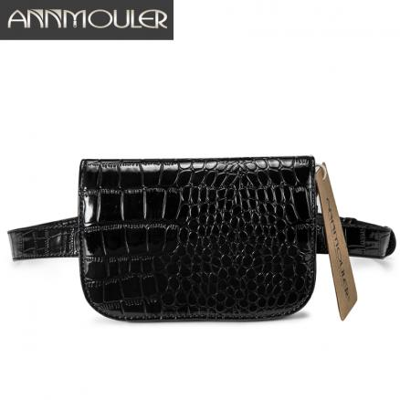 Annmouler Brand Women Waist Packs Pu Leather Waist Bags Alligator Pattern Fanny Bag Black Adjustable Belt Bag for Ladies