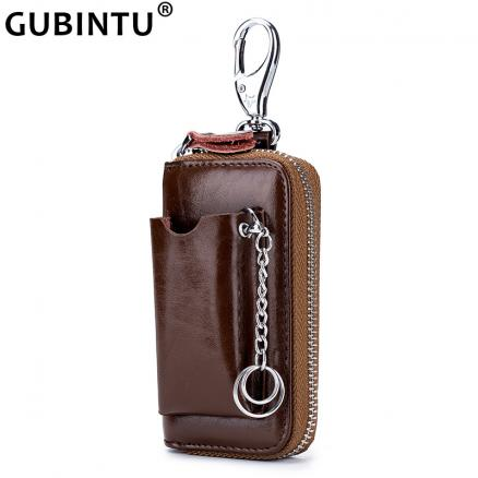 Genuine Leather Key Wallet Men Men's Cowhide Car Key Holder Pouch Bag Case Keys Organizer Housekeeper Keychain Cover Wallet Male