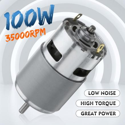 775 DC Motor Max 35000 RPM DC 12V-24V Ball Bearing Large Torque High Power Low Noise Gear Motor Electronic Component Motor