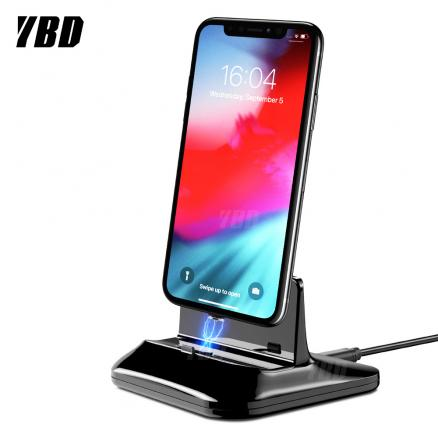 YBD Magnetic Phone Charger For iPhone Huawei Dock Station Charger For Samsung Xiaomi Android Type C Micro Stand Holder Charging