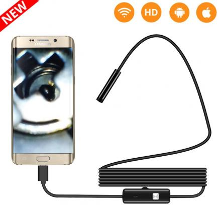 2M 1M 5.5mm 7mm Endoscope Camera Flexible IP67 Waterproof Inspection Borescope Camera for Android PC Notebook 6LEDs Adjustable
