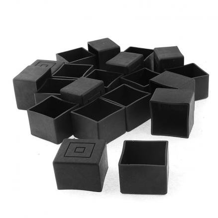 Square Furniture Table Chair Leg Foot Cover Cap 30mmx30mm 20pcs Black