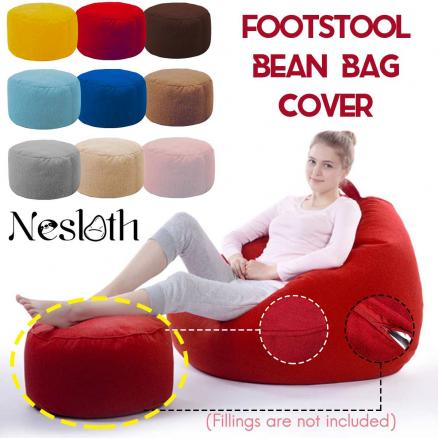 Nesloth Velvet Small Round Beanbag Sofas Cover without Filler Upholstered Footstool Chair Pouf Puff Couch Tatami Living Room New