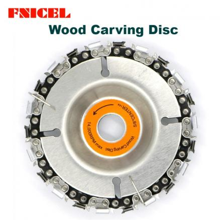 4 inch Wood Carving Disc and Chain 22 Tooth Grinder Disc Fine Chainsaw Set for 100/115 Angle Grinder Wooking Tools