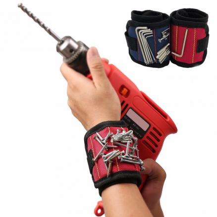 Pocket Super Magnet Wristband Tool Adjustable Tool Wrist Bands for Screws Nails Nuts Bolts Hand free Drill Bit tools Holder