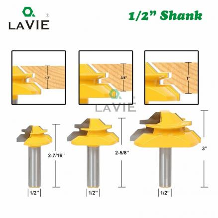 """LAVIE 3pcs 12mm 1/2"""" Shank 45 Degree Lock Miter Bits Glue Joint Set 1/2"""" 3/4"""" 1""""Stock Woodworking Tenon Cutters for Wood 03025"""
