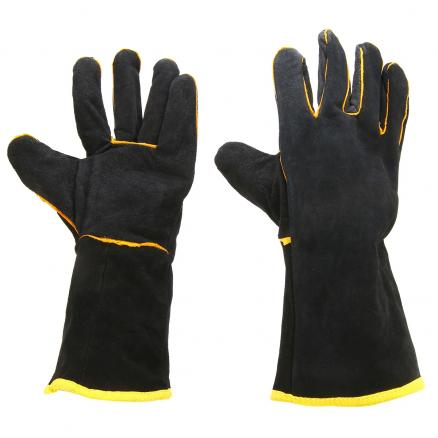 Heavy Duty Welding Protective Gloves 1 Pair Welders Leather Cowhide Gloves Black Mig Welding Soldering Gloves Gauntlets