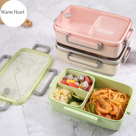 Brown/Green/Pink Lunch Box  Bamboo  Fiber Material  Portable  Bento  Box Microwaveble Food Storage Container For Office Children