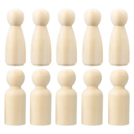 10pcs 65mm Wood Unfinished Peg Dolls Small Bodies People Kids DIY Arts Craft for Home Decorations