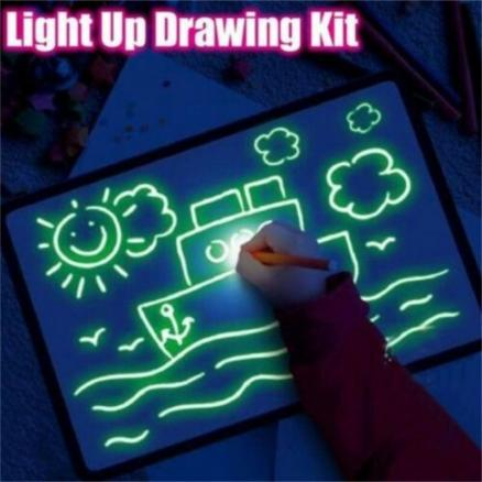Household Night Light Magic Fluorescent Drawing Board Set Pen Card Children's Educational Painting Toy Birthday Kid's Gift