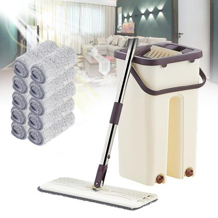 Flat Squeeze Mop Bucket Hand-Free Wringing Floor Stainless Steel Mop Wet And Dry Self Cleaning Magic Automatic Spin Lazy Mop