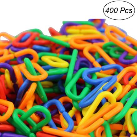 400pcs Plastic C-clips Hooks Chain Links C-links Kids Educational Toy Rat Parrot Toy Parts