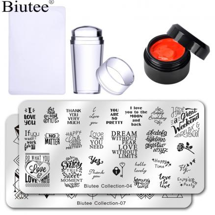 Biutee 12 Colors Stamping Poly Gel Set 2PCS Nail Templates Design With Stamp Jelly Silicone Stamper Set Stamping Gel Polish Nail