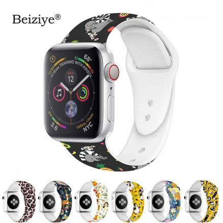 Colorful Pattern Band for Apple Watch Band 42mm 38mm Soft Silicone Sport Replacement Strap For Apple Watch Band 5 4 40mm 44mm