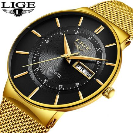 Relogio Masculino 2019 LIGE New Mens Watches Top Brand Luxury Ultra Thin Quartz Watch Men Steel Mesh Strap Waterproof Gold Watch
