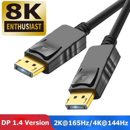 4K 144Hz Displayport 1.4 Cable Video Audio Displayport Cable 1.4 to DP Cable 1.4 8K DP 1.4 Cable For Monitor Projector Laptop PC