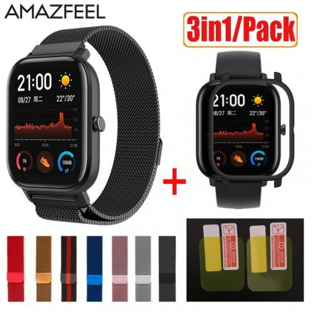 3in1 Smart Watch Accessories Strap For Amazfit GTS Case Cover Metal Bracelet For Huami Amazfit GTS Band Screen Protector Film