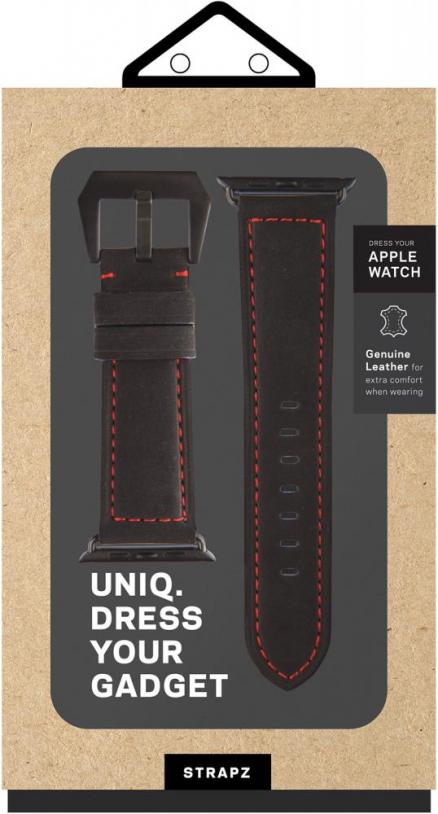Ремешок Uniq Geniune Leather для Apple Watch 42 мм (черный)