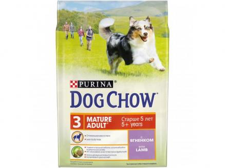Сухой корм Purina Dog Chow Mature Adult для собак старше 5 лет, ягнёнок, пакет, 2,5 кг (12308781)