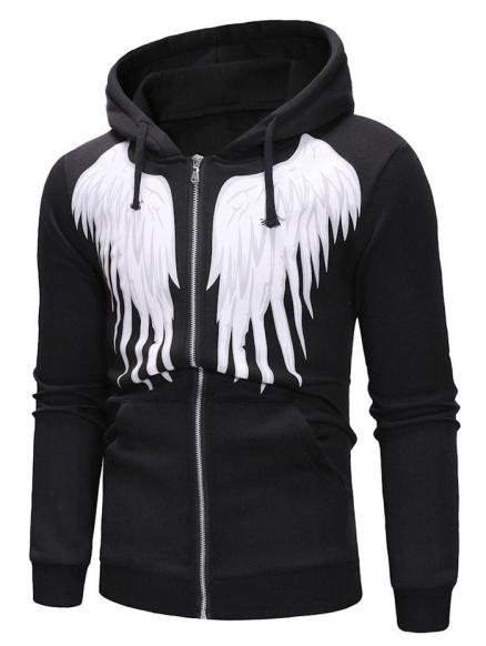 Angel Wings Print Zipper Drawstring Hoodie