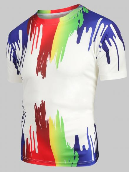 Splatter Paint Print Short Sleeves Tee