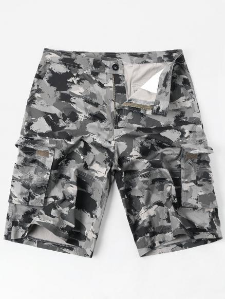 Casual Zipper Fly Oil Paint Print Cargo Shorts