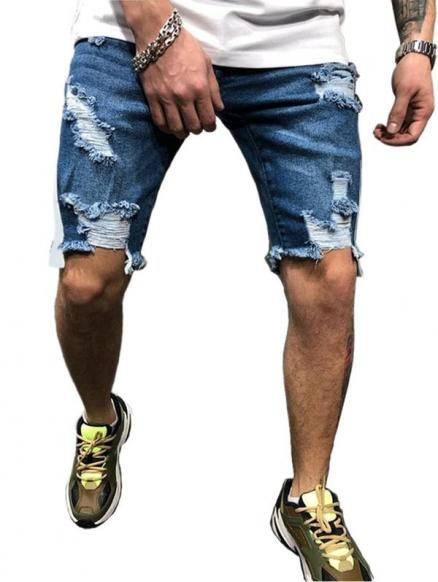 Zip Fly Design Ripped Denim Shorts