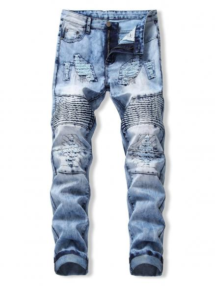 Ruffle Ripped Design Flanging Jeans