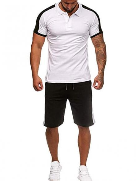 Contrast Shirt Collar Tee and Shorts