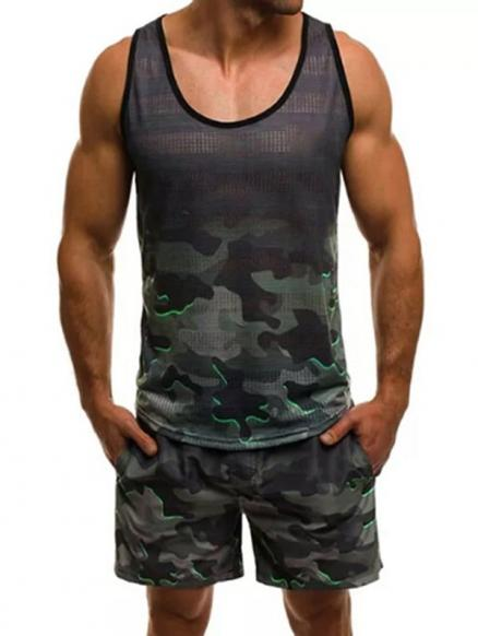 Camouflage Pattern Tank Top and Shorts