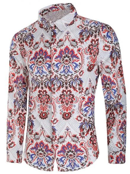 Vintage Blooming Flower Print Long Sleeve Casual Shirt