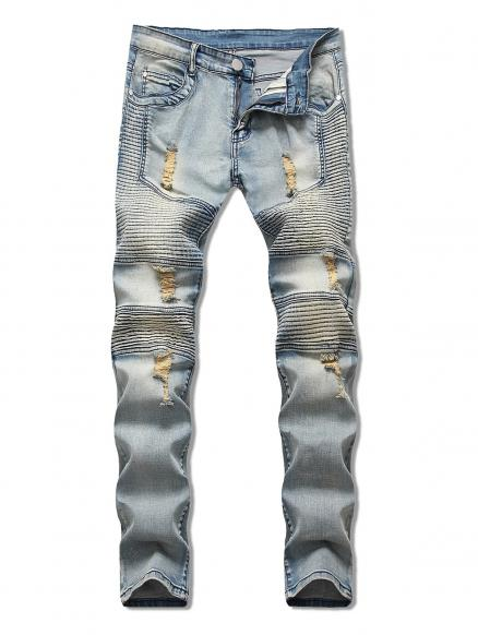 Light Wash Ripped Design Jeans