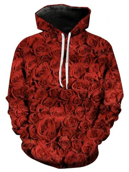 Valentine's Day 3D Roses Printed Pullover Hoodie