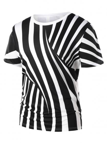 Two Tone Cross Stripe Print T-shirt
