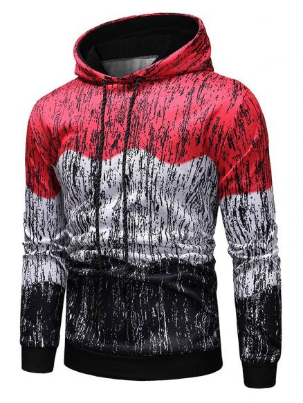 Splash-ink Printed Contract Color Pullover Hoodie