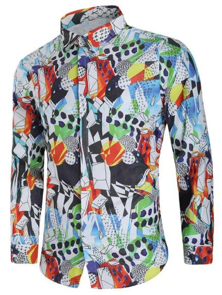 Geometric Paint Hidden Button Shirt