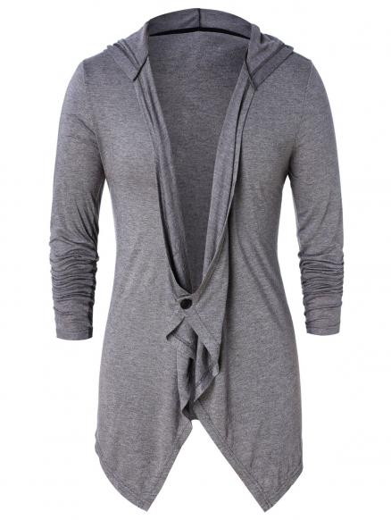 Asymmetric One Button Long Sleeve Hoodie