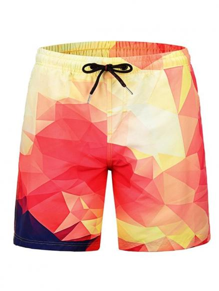 Geometric Print Low Waist Beach Shorts