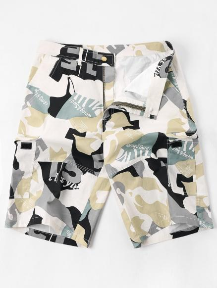 Letter Camouflage Print Multi-pocket Cargo Shorts