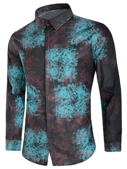 Scrawl Floral Print Button Hidden Placket Shirt
