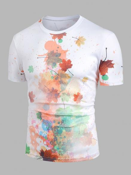 Paint Splatter Maple Leaf Print Round Neck T-shirt