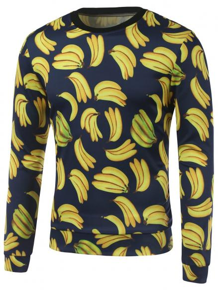 All Over Banana Printed Crew Neck Sweatshirt