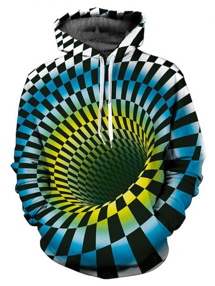 3D Swirl Checked Print Pullover Hoodie