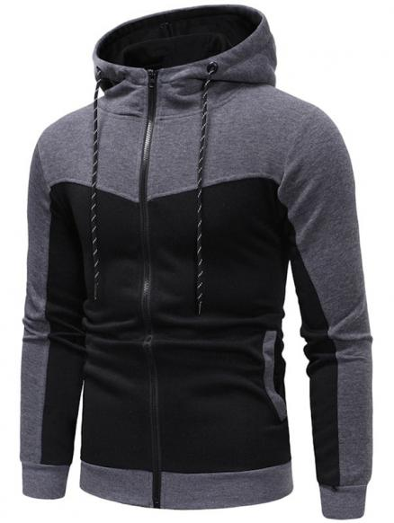 Hooded Contract Color Drawstring Hoodie